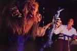 Helena Hutchinson furring the three headed troll. Photo: Paul Torrigino