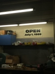 Sign hanging in the Maintenance area. Guess July 1st was the planned opening... Opened July 5th