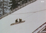 Preparing the ski jump for the movie.